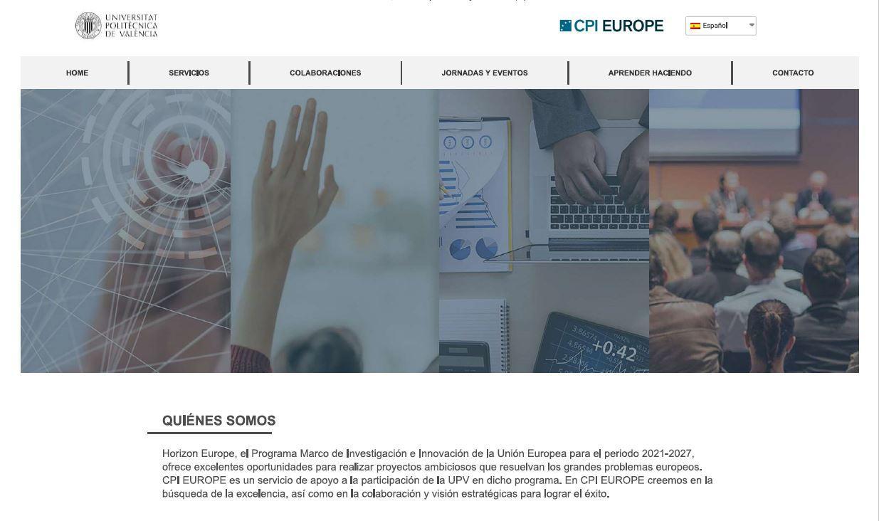 Recorte de imagen de la home de la web CPI Europe